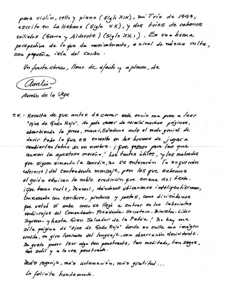 "Segunda parte de la carta de Aurel;io de la Vega sobre ""Ojos de Godo rojo"""